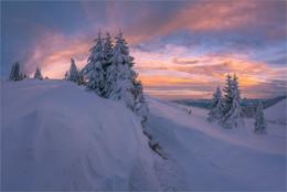 Steirischer Winter / Morgens auf der Stubalpe beim alten Almhaus am Gaberl.