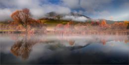 Herbstspiegelung / Herbstliche Spiegelung an einen kleinen Teich in der Steiermark.
