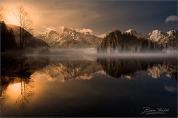 Goldener Morgen am Almsee / Ein Windstiller Morgen am Almsee in Oberösterreich.