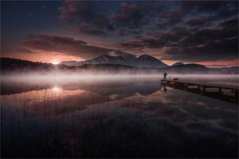 Der Fischer am See / An einen kleinen See in Kärnten.  Composing mit Pinselwerkzeuge in PS6